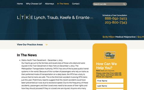 Screenshot of Press Page ltke.com - LTKE In The News | Traub, Keefe & Errante, P.C. | New Haven - captured Oct. 3, 2014