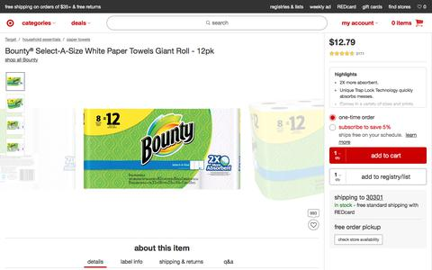 Bounty® Select-A-Size White Paper Towels Giant Roll - 12pk : Target