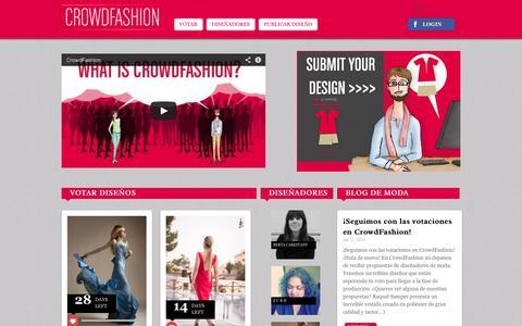 Screenshot of Home Page crowd-fashion.com - Ropa de moda por diseñadores – CrowdFashion - captured Sept. 30, 2014