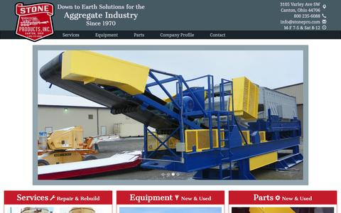 Screenshot of Home Page stonepro.com - Home :: Stone Products Inc. :: Aggregate & Mining Equipment Solutions - captured Feb. 16, 2016