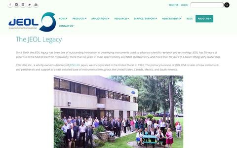 Screenshot of About Page jeolusa.com - JEOL USA   The JEOL Legacy of Quality and Commitment - captured Aug. 14, 2019