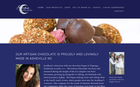 Screenshot of About Page silvermoonchocolate.com - About Silvermoon Chocolate | Raw, Vegan, Superfood Chocolates — Silvermoon Chocolate - captured Oct. 19, 2018