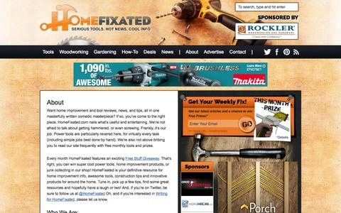 Screenshot of About Page homefixated.com - All About HomeFixated, Nailing What's Cool, Useful and Funny in Home Improvement and DIY - captured Sept. 19, 2014