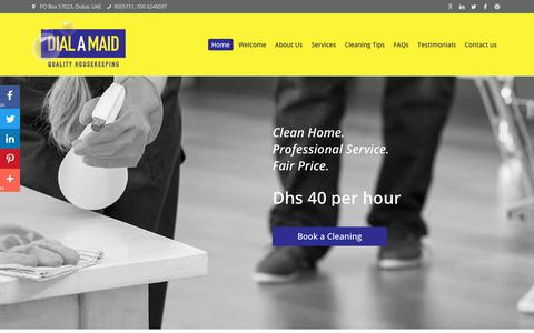 Screenshot of Home Page dialamaid.ae - Dial a Maid Dubai, Cleaning Services Company, House Maids Agency UAE - captured Aug. 6, 2018