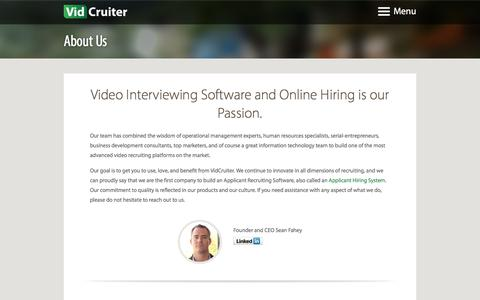 Screenshot of About Page vidcruiter.com - Video Interviewing Software and Online Hiring - VidCruiter - captured Aug. 13, 2016