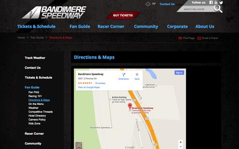 Screenshot of Maps & Directions Page bandimere.com - Directions & Maps - captured Sept. 23, 2014