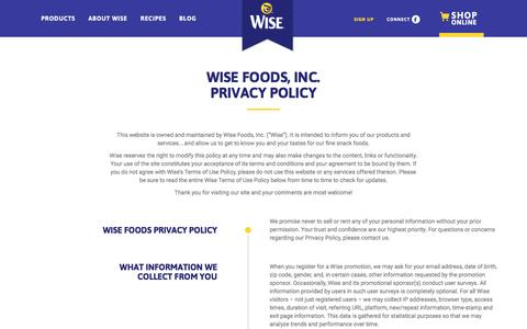 Screenshot of Privacy Page wisesnacks.com - Privacy Policy - Wise Snacks - captured Aug. 28, 2016