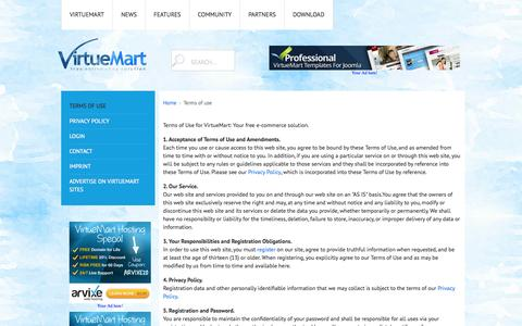 Screenshot of Terms Page virtuemart.net - Terms of use - captured Oct. 26, 2014