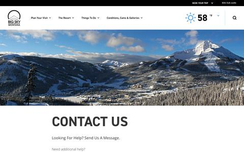 Screenshot of Contact Page bigskyresort.com - Contact Us | Big Sky Resort, Montana - captured Aug. 19, 2018
