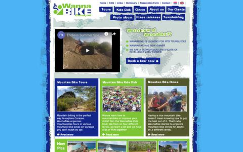 Screenshot of Home Page wannabike.com - Mountain bike tour Curacao, a great activity - captured Oct. 19, 2018