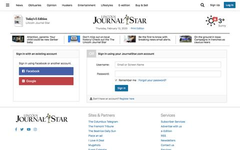 Screenshot of Support Page journalstar.com - Users | journalstar.com - captured Feb. 13, 2020