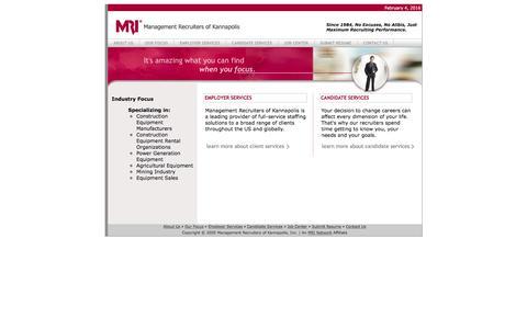 Screenshot of Home Page mrkannapolis.com - Management Recruiters of Kannapolis - captured Feb. 4, 2016