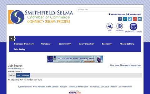 Screenshot of Jobs Page smithfieldselma.com - Job Search - publiclayout full - Greater Smithfield-Selma Area Chamber of Commerce,NC - captured Sept. 20, 2017
