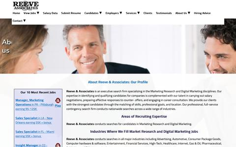 Screenshot of About Page reevejobs.com - Leading Market Research Recruiter / Market Research Jobs - captured Oct. 18, 2018