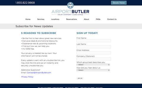 Screenshot of Signup Page airportbutler.com - Airport Butler - captured Oct. 7, 2017