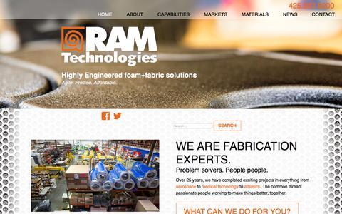 Screenshot of Home Page ramtechnologies.com - RAM Technologies engineered foam and fabric - captured Oct. 26, 2017