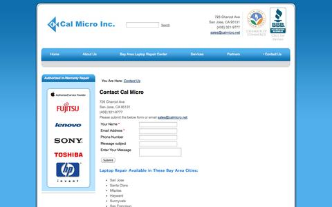 Screenshot of Contact Page calmicro.net - Contact Us - Cal Micro - captured Oct. 1, 2014