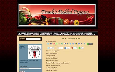Screenshot of Contact Page frankspickledpeppers.com - Frank's Pickled Peppers - captured Sept. 30, 2014