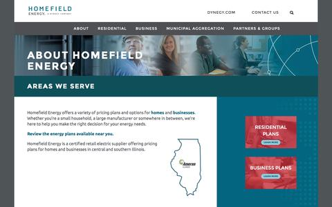 Screenshot of Signup Page dynegy.com - Areas We Serve | Homefield - captured Jan. 4, 2017