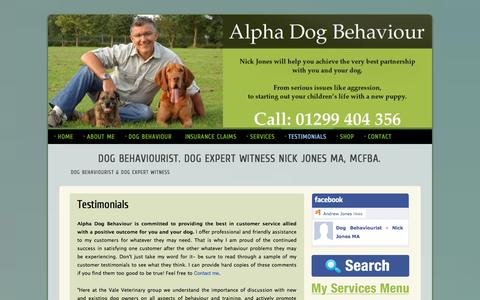 Screenshot of Testimonials Page alphadogbehaviour.co.uk - Dog behaviour testimonials. See why owners and vets alike trust me. - captured Sept. 30, 2014