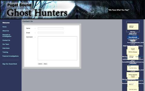 Screenshot of Contact Page psghosthunters.com - Puget Sound Ghost Hunters - captured Nov. 2, 2014