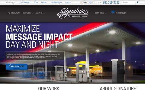 Screenshot of Home Page signaturegraphicsinc.com - Signature Graphics - premium provider of graphics and brand solutions - - captured Oct. 6, 2014