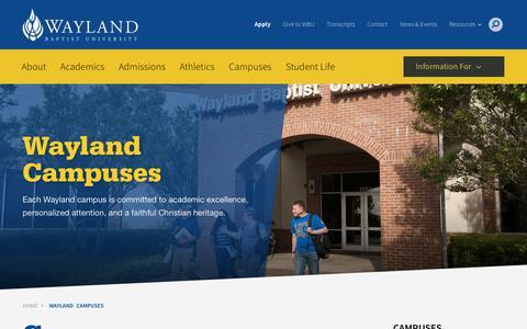 Screenshot of Locations Page Maps & Directions Page wbu.edu - Wayland Campuses - Wayland Baptist University - captured June 23, 2017