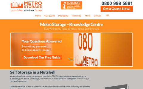 Screenshot of FAQ Page metro-storage.co.uk - F.A.Q's About Our London Self Storage Facility | Metro Storage - captured Oct. 18, 2018