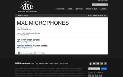 Screenshot of Contact Page mxlmics.com - MXL® Microphones - Contact Information - captured Sept. 22, 2014
