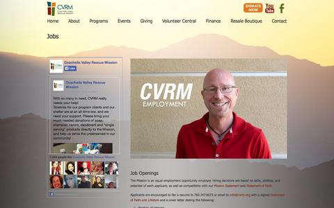 Screenshot of Jobs Page cvrm.org - Jobs - Coachella Valley Rescue Mission - captured Oct. 2, 2014