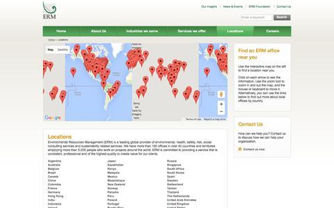 Screenshot of Locations Page erm.com - Locations - Environmental Resources Management (ERM) - captured Nov. 26, 2015