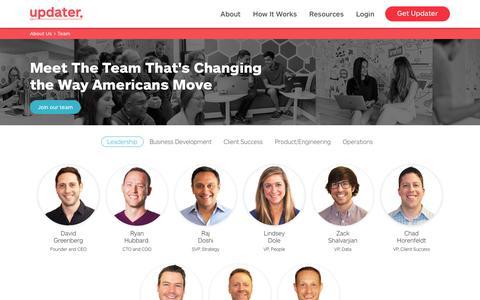 Screenshot of Team Page updater.com - Meet the team - Updater - captured Jan. 17, 2019