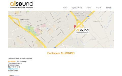Screenshot of Contact Page allsound.be - dj trouwfeest, dj verjaardag, dj fuif met ALLSOUND - captured Sept. 30, 2014