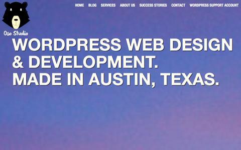 Screenshot of Home Page osostudio.com - Austin Web Design and Development. WordPress Specialists. - captured Oct. 7, 2014