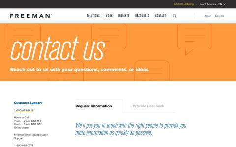 Screenshot of Contact Page freeman.com - Contact | Freeman - captured July 19, 2019
