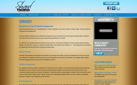Screenshot of Services Page shardfinancial.com - Services | Margie Shard, CFP President and Wealth Advisor - captured Oct. 26, 2014