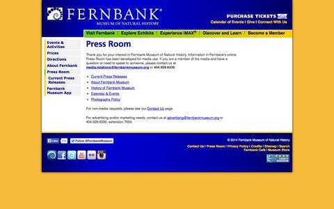 Screenshot of Press Page fernbankmuseum.org - Press Room - captured Sept. 24, 2014