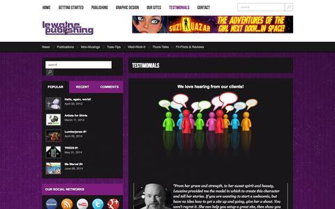 Screenshot of Testimonials Page lewaine.com - Testimonials   Lewaine Publishing - captured Oct. 2, 2014