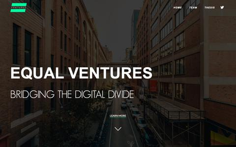 Screenshot of Home Page equal.vc - Equal Ventures - captured April 22, 2019