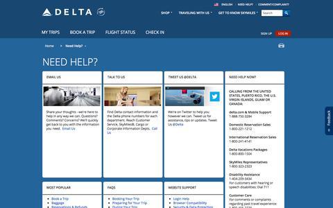 Screenshot of Support Page delta.com - Need Help? : Delta Air Lines - captured Dec. 6, 2017