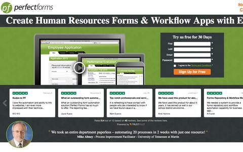 Screenshot of Landing Page perfectforms.com - HR Management Software - PerfectForms - captured March 5, 2018