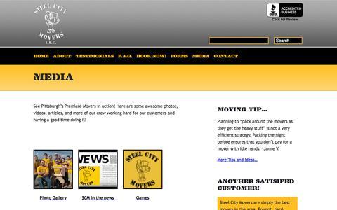 Screenshot of Press Page steelcitymovers.com - Media | Steel City MoversSteel City Movers - captured Oct. 7, 2014