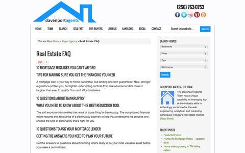 Screenshot of FAQ Page homes-huntsville.com - Real Estate FAQ - Huntsville AL Real Estate Agency - captured Oct. 5, 2014