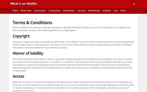 Terms & Conditions - Whats On Netflix