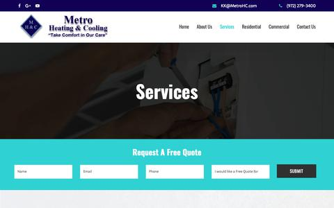 Screenshot of Services Page metrohc.com - HVAC and Air Conditioning Services Dallas, TX | Metro Heating & Cooling - captured Dec. 20, 2018