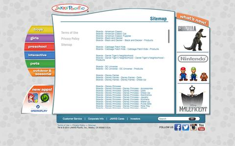 Screenshot of Site Map Page jakks.com - Sitemap | JAKKS Pacific - captured Sept. 16, 2014
