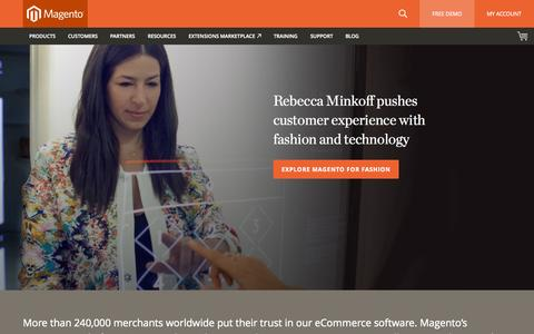Screenshot of Home Page magento.com - eCommerce Software & eCommerce Platform Solutions | Magento - captured Oct. 1, 2015