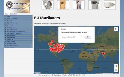 Screenshot of Maps & Directions Page ejcompany.com - E J Distributors | E J Company - captured Sept. 25, 2018