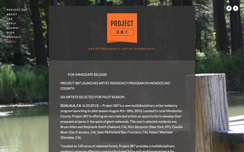 Screenshot of Press Page project387.com - PRESS — PROJECT 387 - captured Sept. 30, 2014