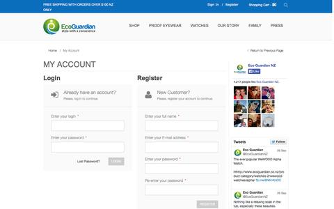 Screenshot of Login Page ecoguardian.co.nz - My Account | Eco Guardian - captured Sept. 30, 2014